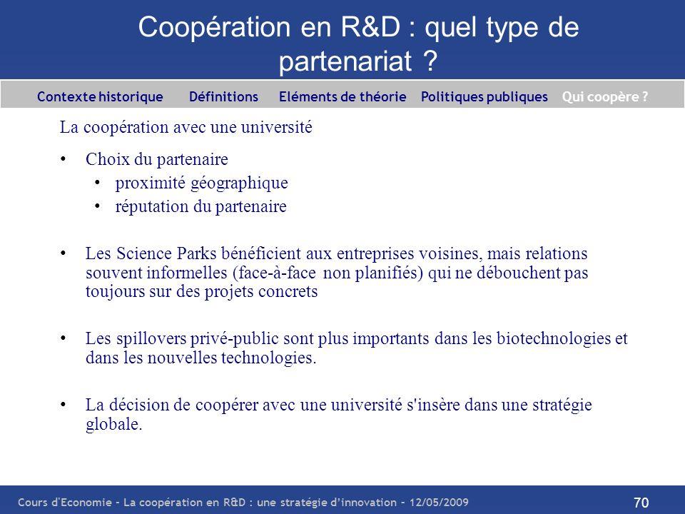 Cours d'Economie - La coopération en R&D : une stratégie dinnovation – 12/05/2009 70 Coopération en R&D : quel type de partenariat ? La coopération av