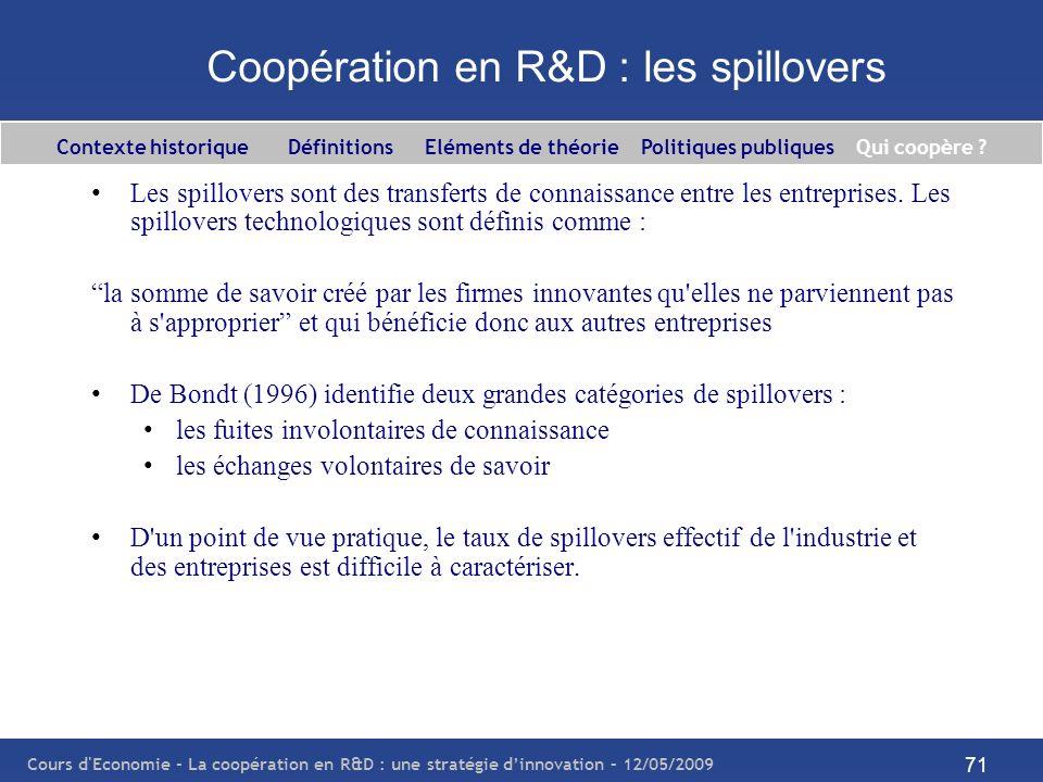 Cours d'Economie - La coopération en R&D : une stratégie dinnovation – 12/05/2009 71 Coopération en R&D : les spillovers Les spillovers sont des trans