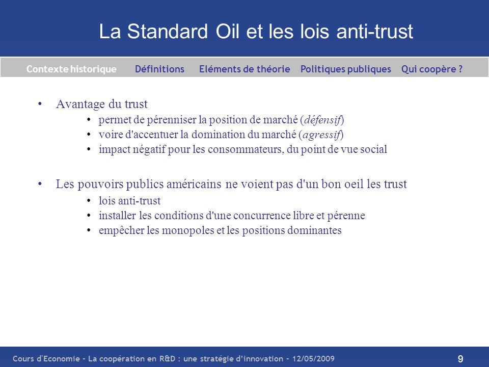 Cours d'Economie - La coopération en R&D : une stratégie dinnovation – 12/05/2009 9 La Standard Oil et les lois anti-trust Avantage du trust permet de