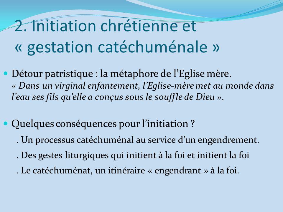 2. Initiation chrétienne et « gestation catéchuménale » Détour patristique : la métaphore de lEglise mère. « Dans un virginal enfantement, lEglise-mèr