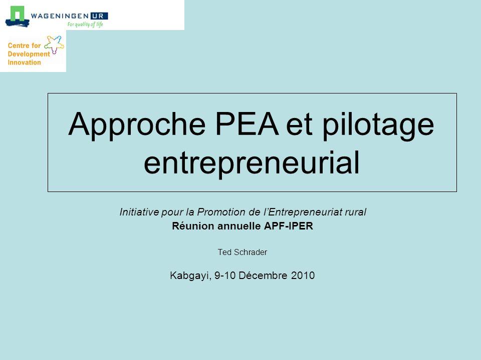 Initiative pour la Promotion de lEntrepreneuriat rural Réunion annuelle APF-IPER Ted Schrader Kabgayi, 9-10 Décembre 2010 Approche PEA et pilotage ent