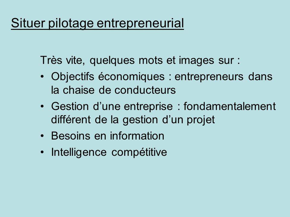 Situer pilotage entrepreneurial Très vite, quelques mots et images sur : Objectifs économiques : entrepreneurs dans la chaise de conducteurs Gestion d