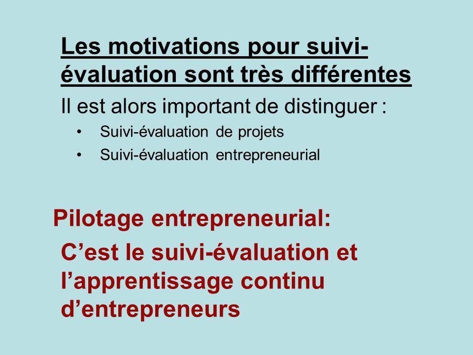 Les motivations pour suivi- évaluation sont très différentes Il est alors important de distinguer : Suivi-évaluation de projets Suivi-évaluation entre