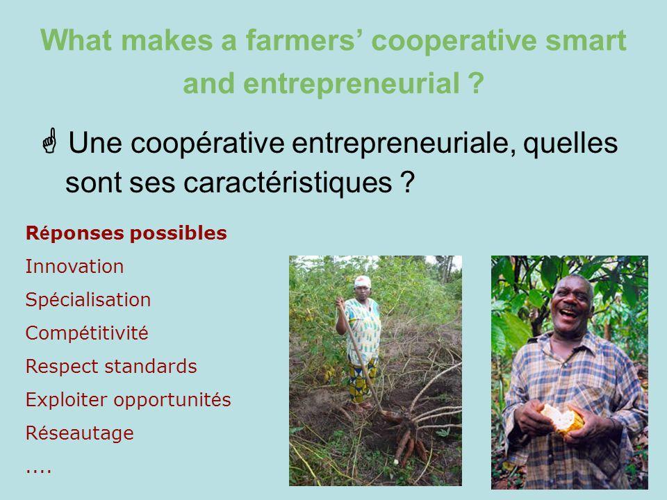 What makes a farmers cooperative smart and entrepreneurial ? Une coopérative entrepreneuriale, quelles sont ses caractéristiques ? R é ponses possible