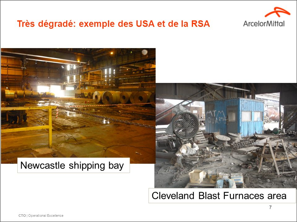 CTO | Operational Excellence 7 Très dégradé: exemple des USA et de la RSA Cleveland Blast Furnaces area Newcastle shipping bay