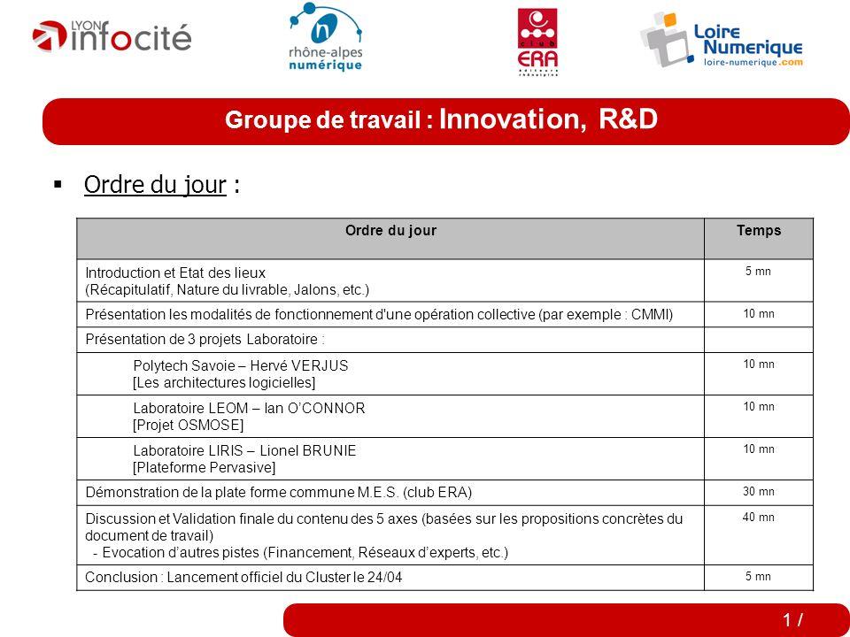 Cluster Editeurs de logiciels en Rhône-Alpes La filière est en marche ! Groupe de travail INNOVATION, RECHERCHE & DEVELOPPEMENT 8 février 2007 0 /
