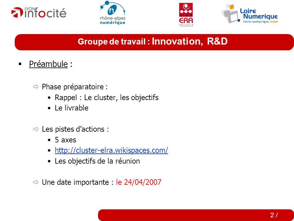 Groupe de travail : Innovation, R&D 1 / Ordre du jour : Ordre du jourTemps Introduction et Etat des lieux (Récapitulatif, Nature du livrable, Jalons,