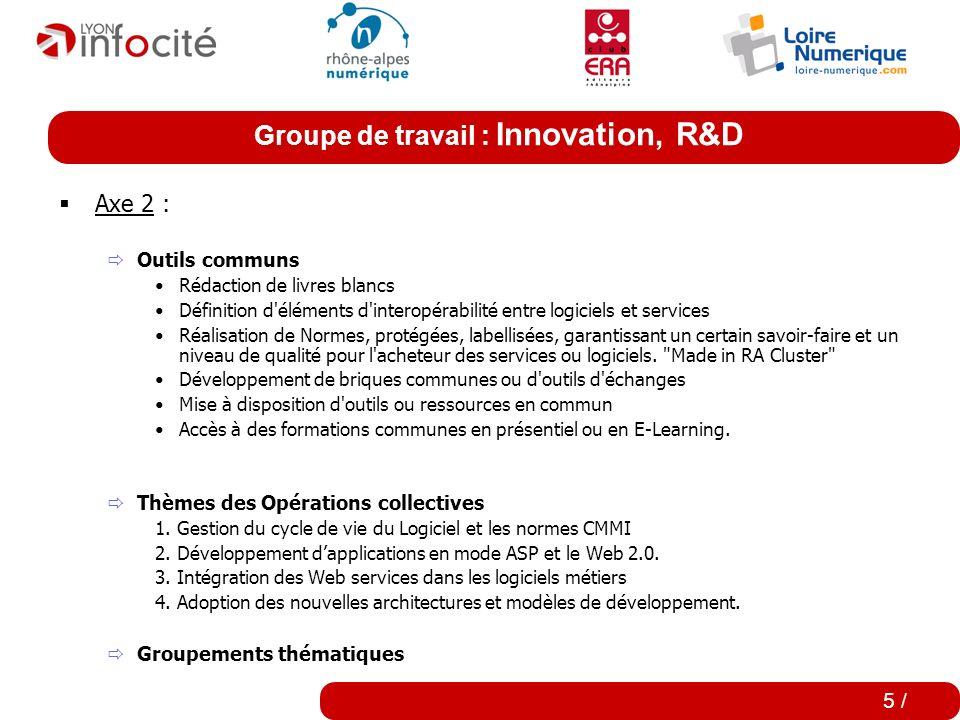 Groupe de travail : Innovation, R&D 4 / Axe 1 : Des conférences thématiques orientées opérationnel (12) Des conférences visant à présenter des projets