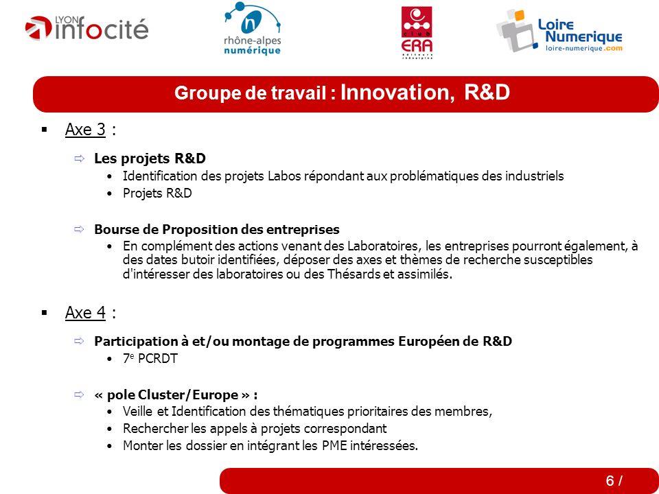 Groupe de travail : Innovation, R&D 5 / Axe 2 : Outils communs Rédaction de livres blancs Définition d'éléments d'interopérabilité entre logiciels et