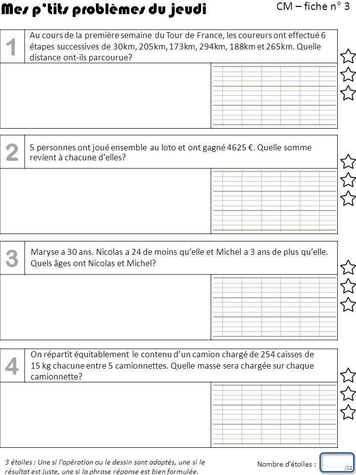 CM – fiche n° 4 3 étoiles : Une si lopération ou le dessin sont adaptés, une si le résultat est juste, une si la phrase réponse est bien formulée.