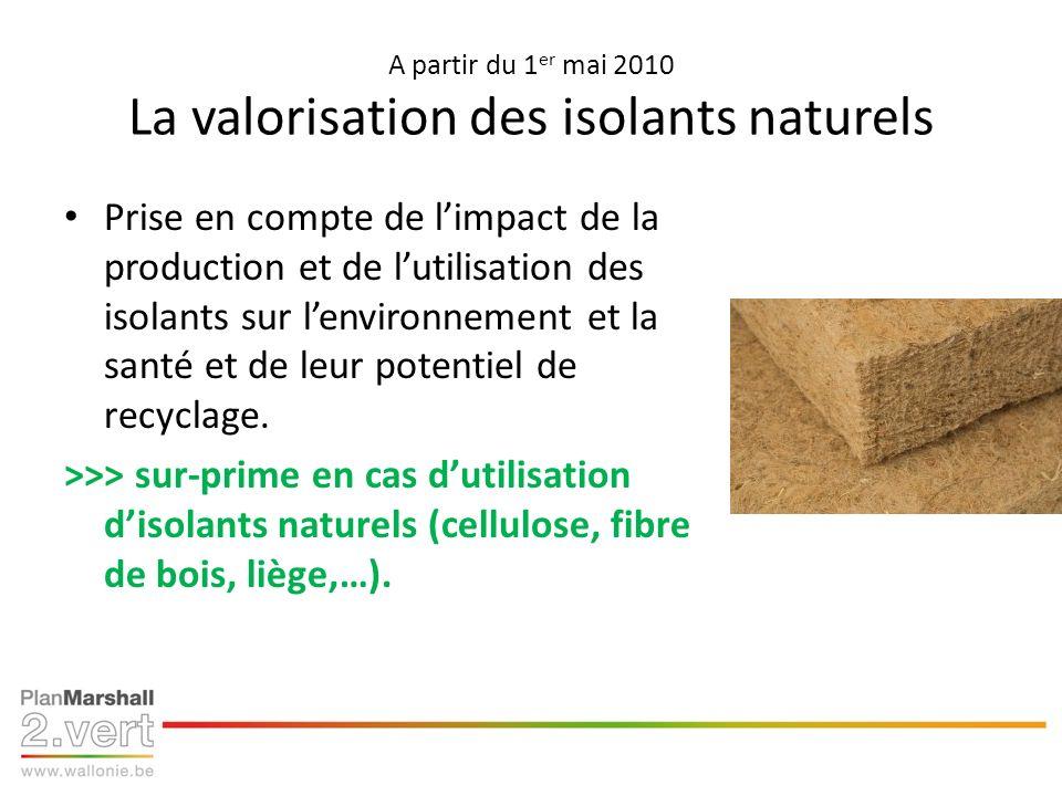 A partir du 1 er mai 2010 La valorisation des isolants naturels Prise en compte de limpact de la production et de lutilisation des isolants sur lenvir