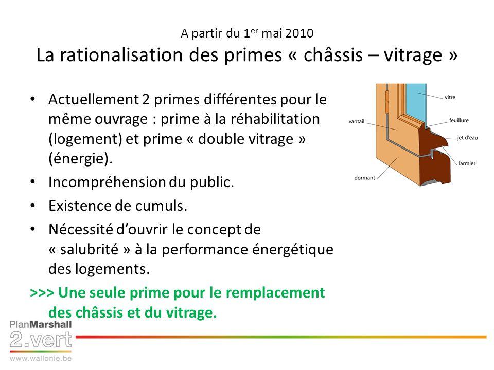 A partir du 1 er mai 2010 La rationalisation des primes « châssis – vitrage » Actuellement 2 primes différentes pour le même ouvrage : prime à la réhabilitation (logement) et prime « double vitrage » (énergie).