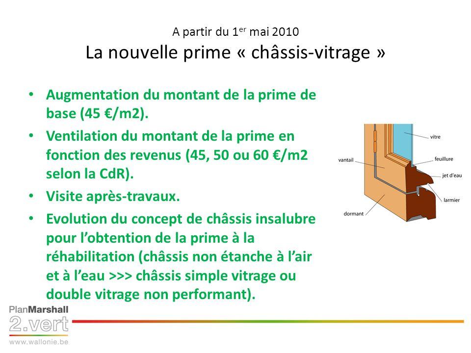 A partir du 1 er mai 2010 La nouvelle prime « châssis-vitrage » Augmentation du montant de la prime de base (45 /m2). Ventilation du montant de la pri