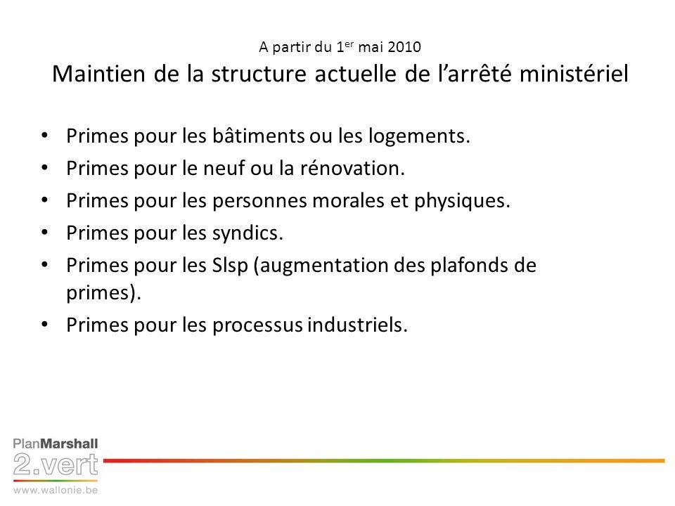 A partir du 1 er mai 2010 Maintien de la structure actuelle de larrêté ministériel Primes pour les bâtiments ou les logements. Primes pour le neuf ou