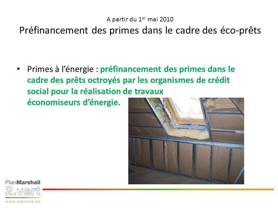 A partir du 1 er mai 2010 Préfinancement des primes dans le cadre des éco-prêts Primes à lénergie : préfinancement des primes dans le cadre des prêts octroyés par les organismes de crédit social pour la réalisation de travaux économiseurs dénergie.