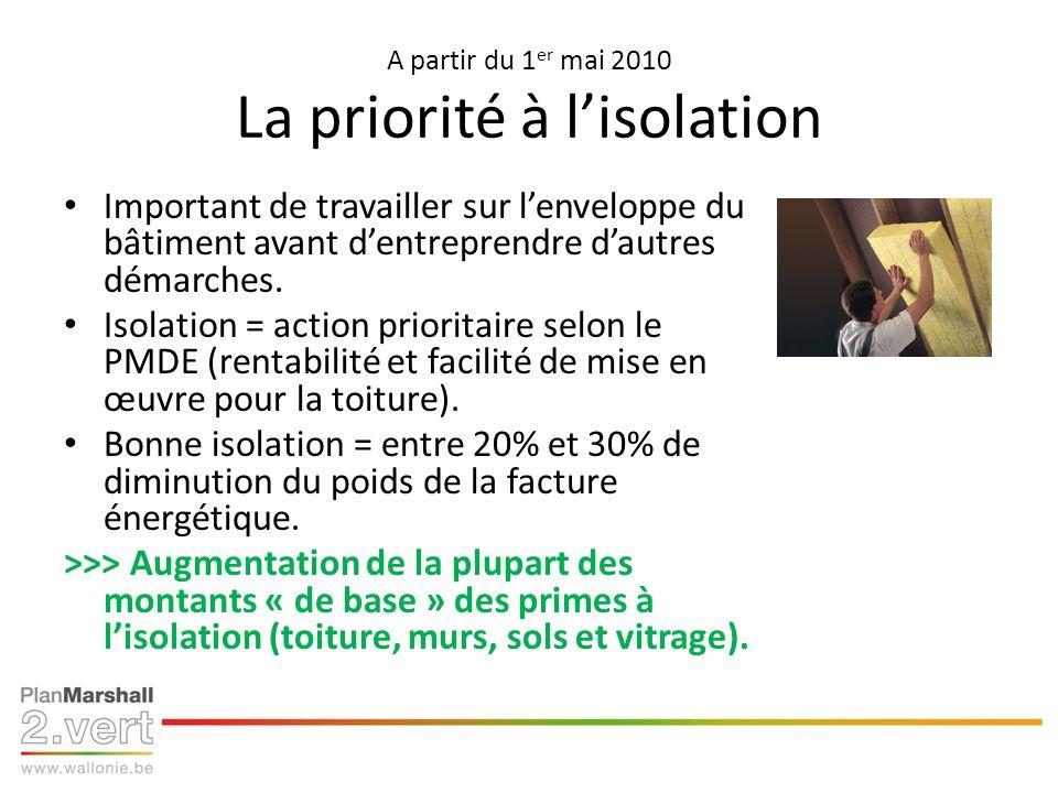 A partir du 1 er mai 2010 La priorité à lisolation Important de travailler sur lenveloppe du bâtiment avant dentreprendre dautres démarches.