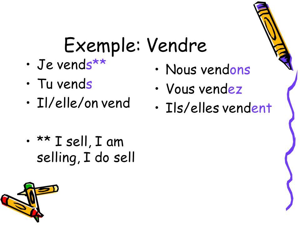 Exemple: Vendre Je vends** Tu vends Il/elle/on vend ** I sell, I am selling, I do sell Nous vendons Vous vendez Ils/elles vendent
