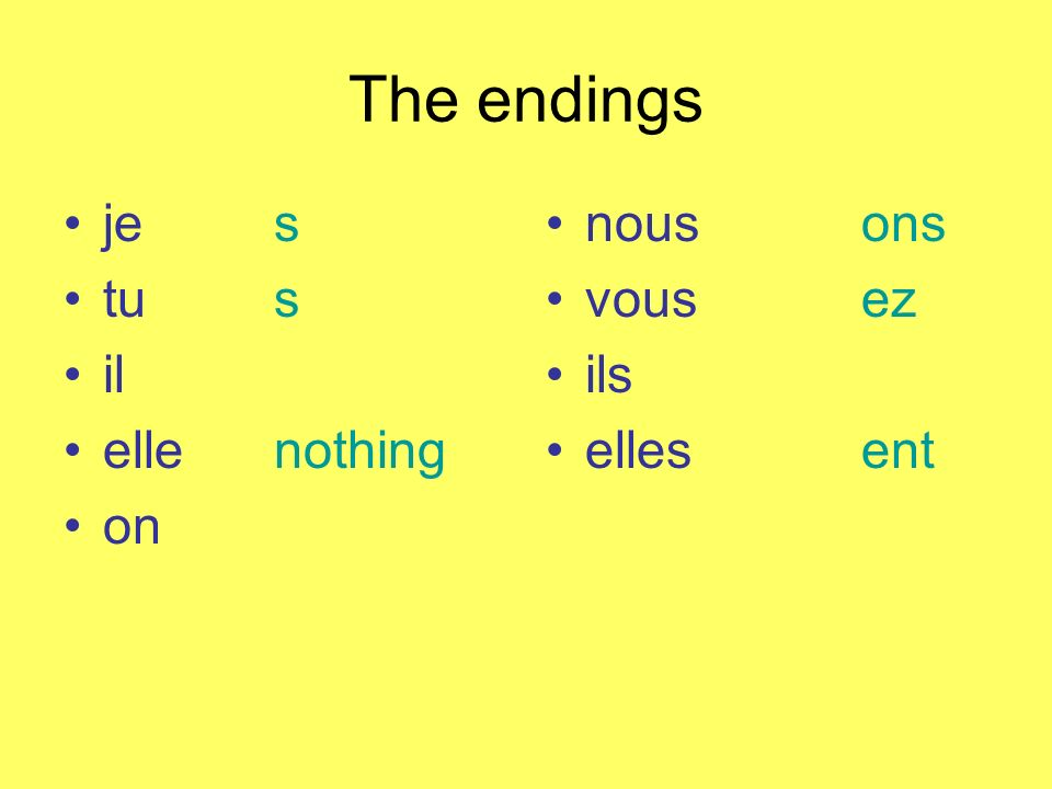 The endings je s tus il ellenothing on nousons vousez ils ellesent