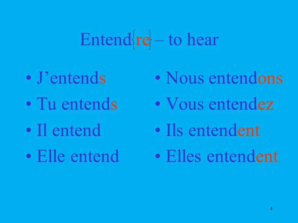 4 Entend re – to hear Jentends Tu entends Il entend Elle entend Nous entendons Vous entendez Ils entendent Elles entendent