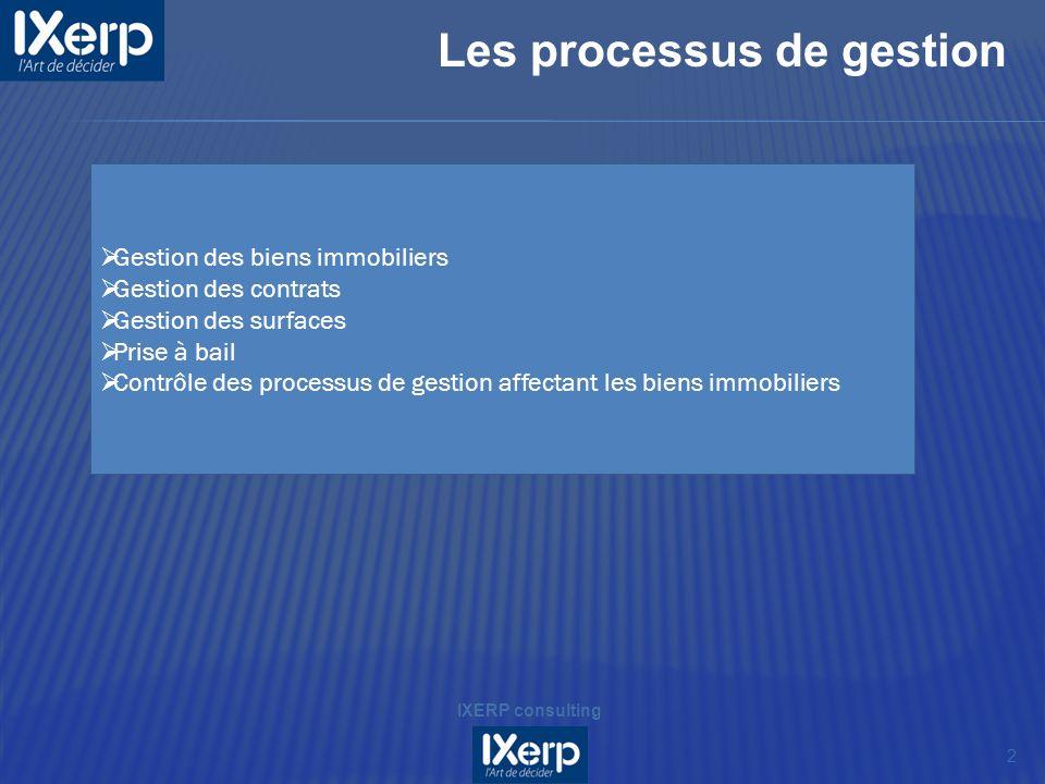 Les processus de gestion 2 IXERP consulting Gestion des biens immobiliers Gestion des contrats Gestion des surfaces Prise à bail Contrôle des processus de gestion affectant les biens immobiliers