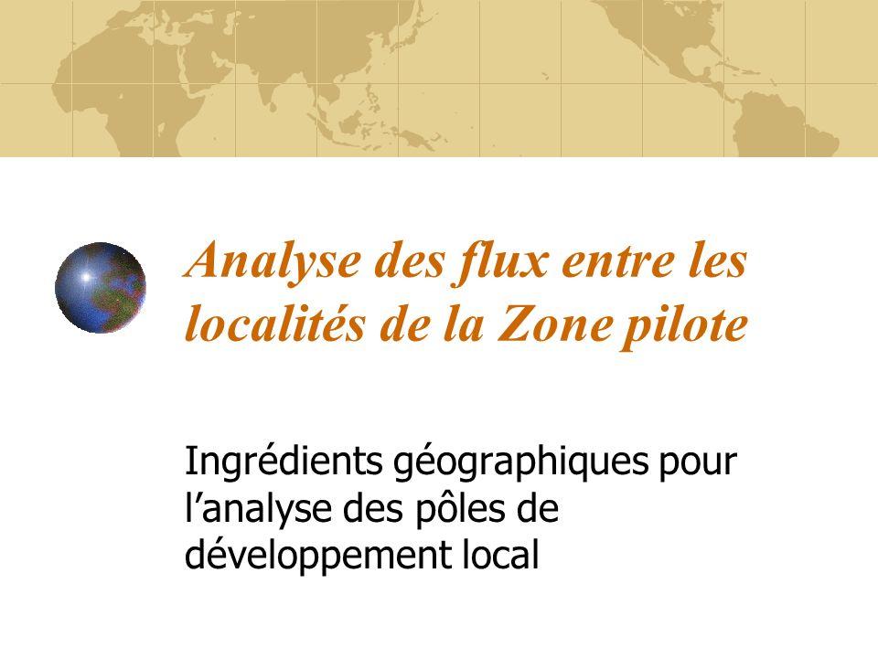 Analyse des flux entre les localités de la Zone pilote Ingrédients géographiques pour lanalyse des pôles de développement local