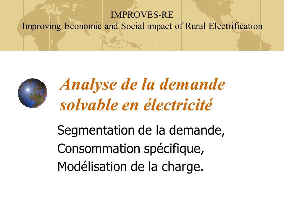 Analyse de la demande solvable en électricité Segmentation de la demande, Consommation spécifique, Modélisation de la charge. IMPROVES-RE Improving Ec