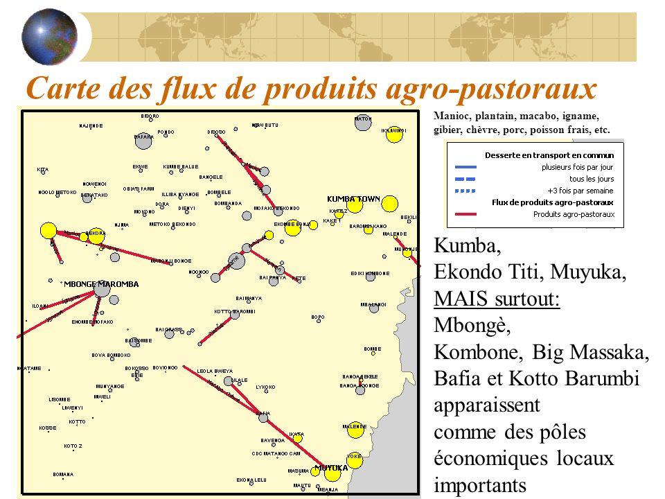 Carte des flux de produits agro-pastoraux Kumba, Ekondo Titi, Muyuka, MAIS surtout: Mbongè, Kombone, Big Massaka, Bafia et Kotto Barumbi apparaissent
