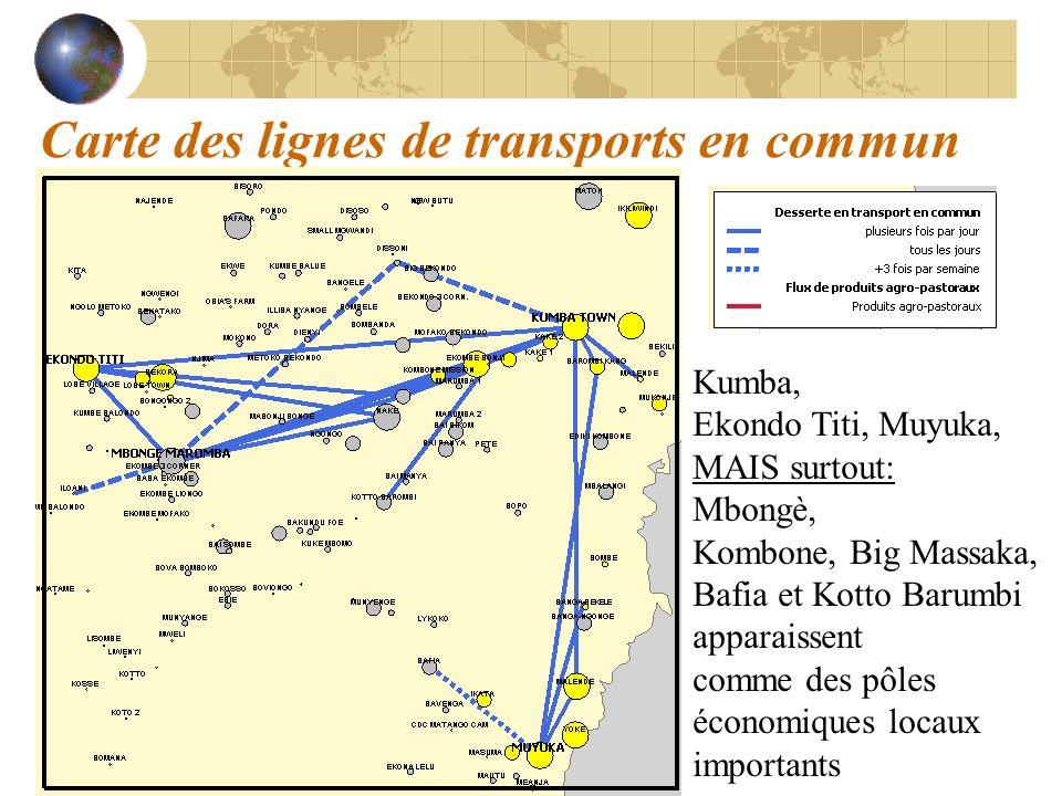 Carte des lignes de transports en commun Kumba, Ekondo Titi, Muyuka, MAIS surtout: Mbongè, Kombone, Big Massaka, Bafia et Kotto Barumbi apparaissent c
