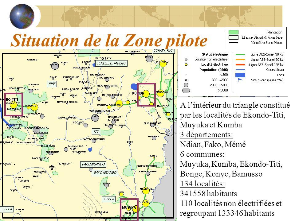 Situation de la Zone pilote A lintérieur du triangle constitué par les localités de Ekondo-Titi, Muyuka et Kumba 3 départements: Ndian, Fako, Mémé 6 c