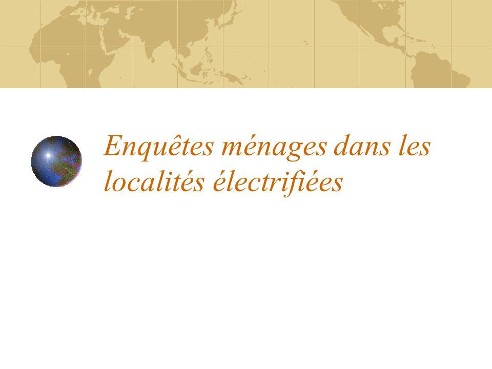Enquêtes ménages dans les localités électrifiées