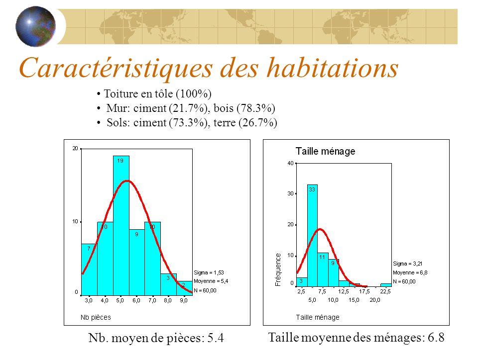 Caractéristiques des habitations Toiture en tôle (100%) Mur: ciment (21.7%), bois (78.3%) Sols: ciment (73.3%), terre (26.7%) Nb. moyen de pièces: 5.4