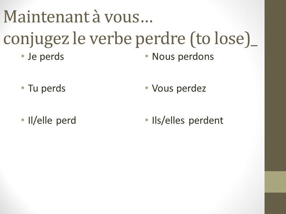 Maintenant à vous… conjugez le verbe choisir (to choose) Je choisis Tu choisis Il/elle choisit Nous choisissons Vous choisissez Ils/elles choisissent