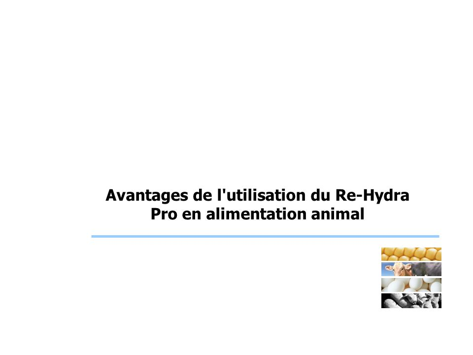 Use of Re-Hydra Pro ® in starter feeds for piglets - IT: UP- 010604-BR Objectives To study the effect of the addition of a re-hydrating mixtre (at growing doses from 200 to 600 ppm) on the performances of the piglets.