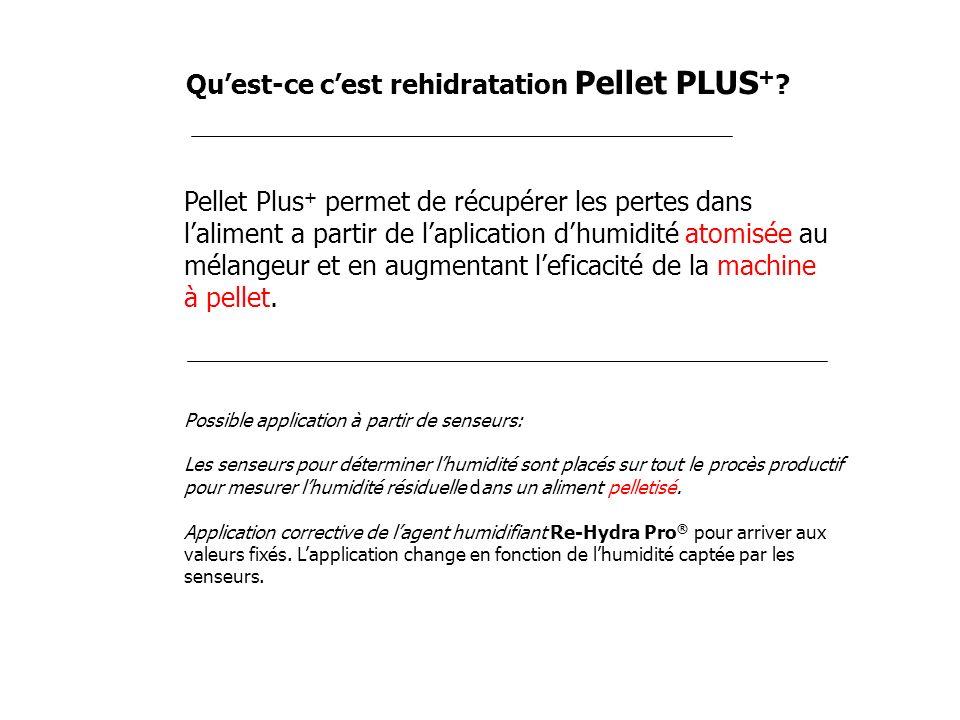 Quest-ce cest rehidratation Pellet PLUS + ? Pellet Plus + permet de récupérer les pertes dans laliment a partir de laplication dhumidité atomisée au m