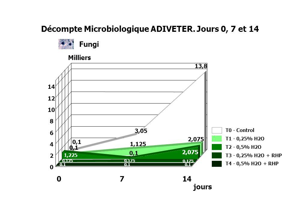 Fungi 0,1 3,05 13,8 0,1 1,125 2,075 1,225 0,1 2,075 0,125 0,175 0,1 0 2 4 6 8 10 12 14 T0 - Control T1 - 0,25% H2O T2 - 0,5% H2O T3 - 0,25% H2O + RHP