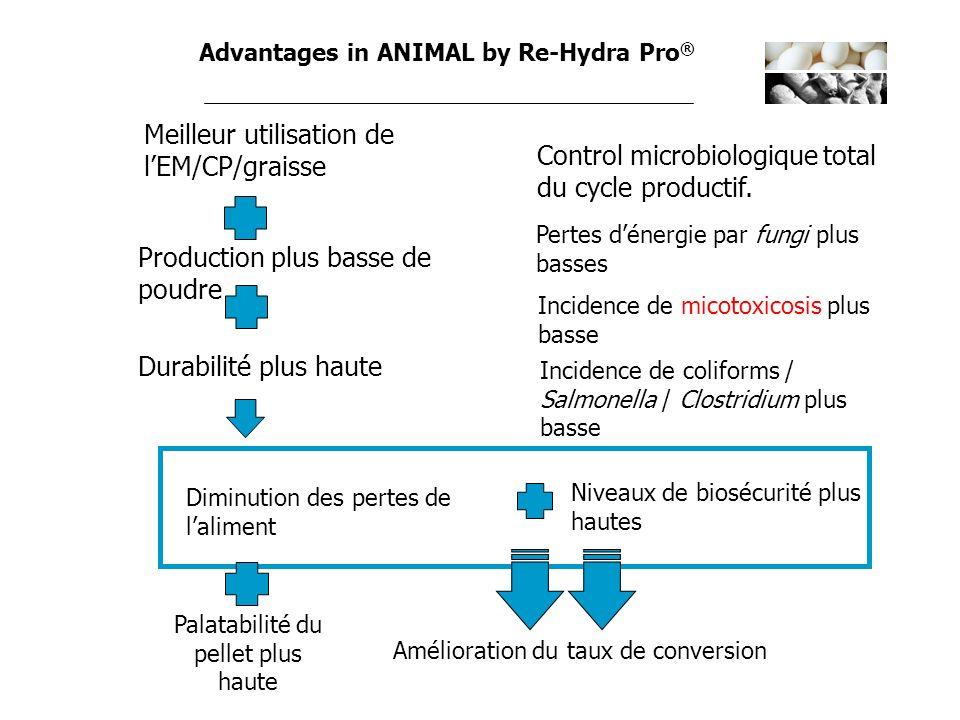 Advantages in ANIMAL by Re-Hydra Pro ® Meilleur utilisation de lEM/CP/graisse Diminution des pertes de laliment Production plus basse de poudre Amélio