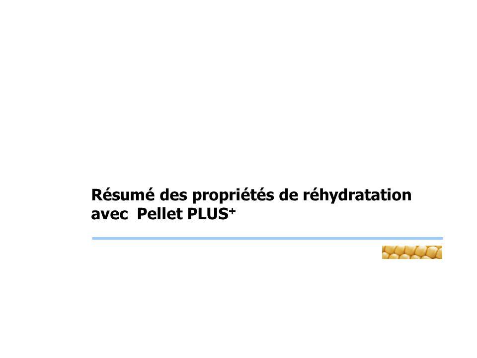 Résumé des propriétés de réhydratation avec Pellet PLUS +