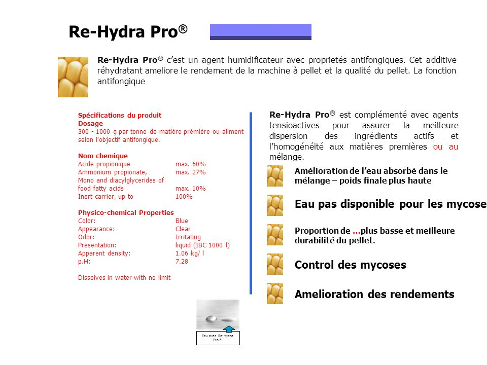 Re-Hydra Pro ® cest un agent humidificateur avec proprietés antifongiques. Cet additive réhydratant ameliore le rendement de la machine à pellet et la