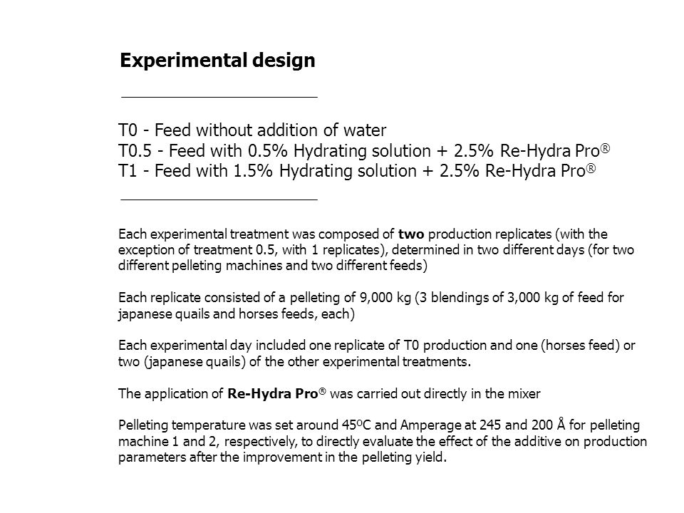 Experimental design T0 - Feed without addition of water T0.5 - Feed with 0.5% Hydrating solution + 2.5% Re-Hydra Pro ® T1 - Feed with 1.5% Hydrating s