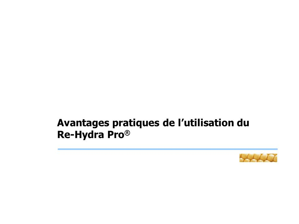 Use of Re-Hydra Pro ® in feed for broiler chickens – It: Apu-Br1-04 Objectives To study the effect of adding a rehydrating mixture (at 1% concentration) on performances of broiler chickens, at the Universitat Autònoma de Barcelona.