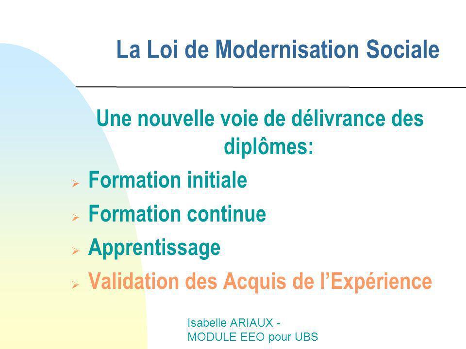 Isabelle ARIAUX - MODULE EEO pour UBS La Loi de Modernisation Sociale Une nouvelle voie de délivrance des diplômes: Formation initiale Formation conti