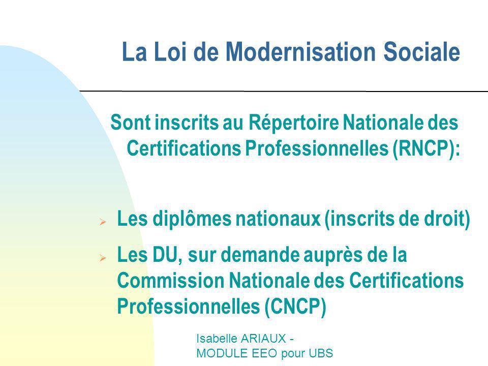 Isabelle ARIAUX - MODULE EEO pour UBS Sont inscrits au Répertoire Nationale des Certifications Professionnelles (RNCP): Les diplômes nationaux (inscri