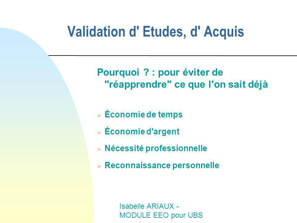 Isabelle ARIAUX - MODULE EEO pour UBS Validation d' Etudes, d' Acquis Pourquoi ? : pour éviter de