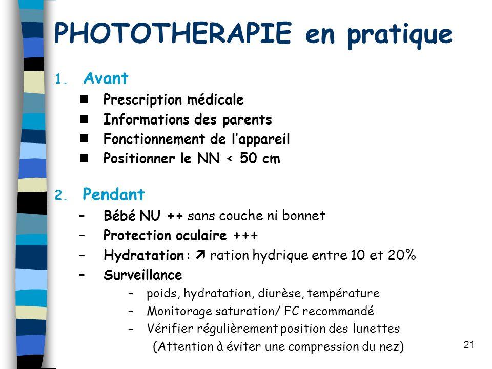 21 PHOTOTHERAPIE en pratique 1. Avant Prescription médicale Informations des parents Fonctionnement de lappareil Positionner le NN < 50 cm 2. Pendant