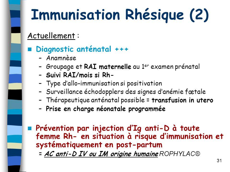 31 Immunisation Rhésique (2) Actuellement : Diagnostic anténatal +++ –Anamnèse –Groupage et RAI maternelle au 1 er examen prénatal –Suivi RAI/mois si