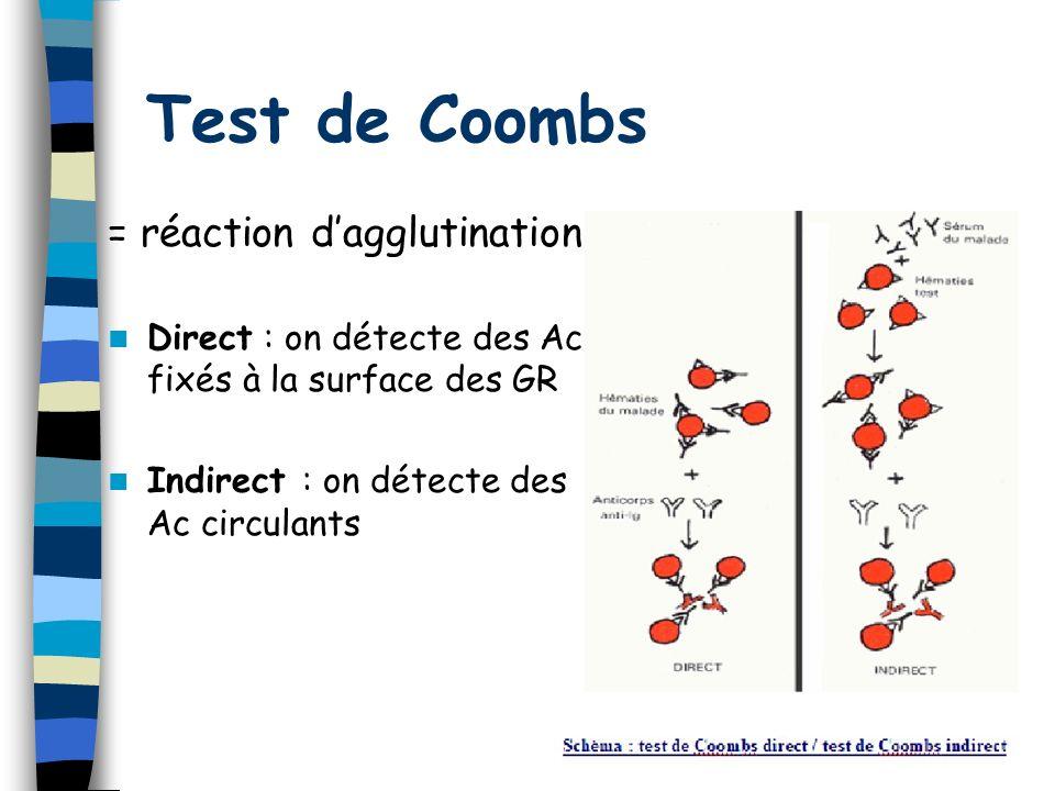 33 Test de Coombs = réaction dagglutination Direct : on détecte des Ac fixés à la surface des GR Indirect : on détecte des Ac circulants