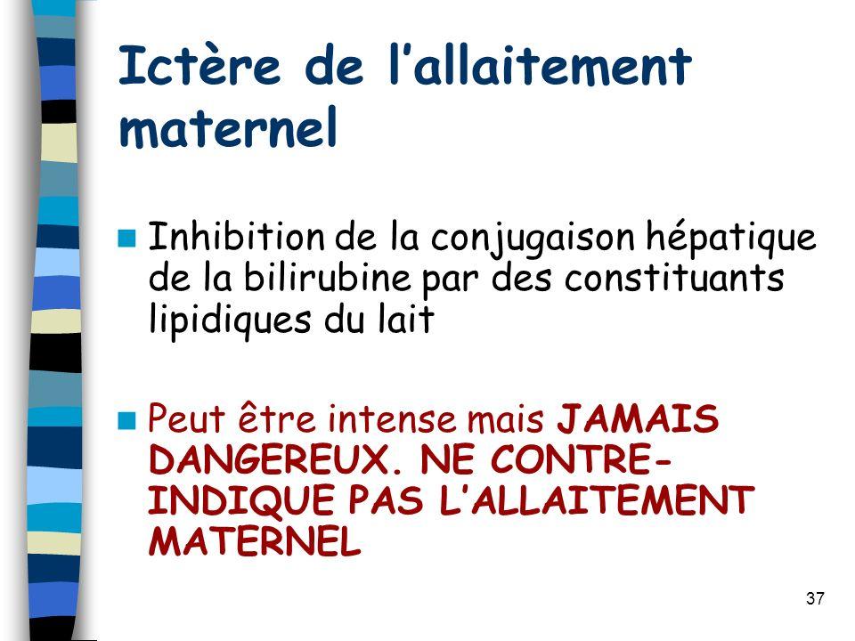 37 Ictère de lallaitement maternel Inhibition de la conjugaison hépatique de la bilirubine par des constituants lipidiques du lait Peut être intense m