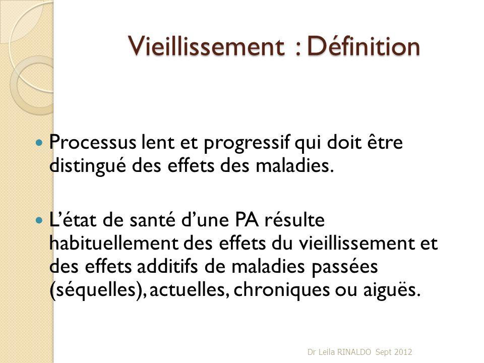 Vieillissement : Définition Processus lent et progressif qui doit être distingué des effets des maladies. Létat de santé dune PA résulte habituellemen