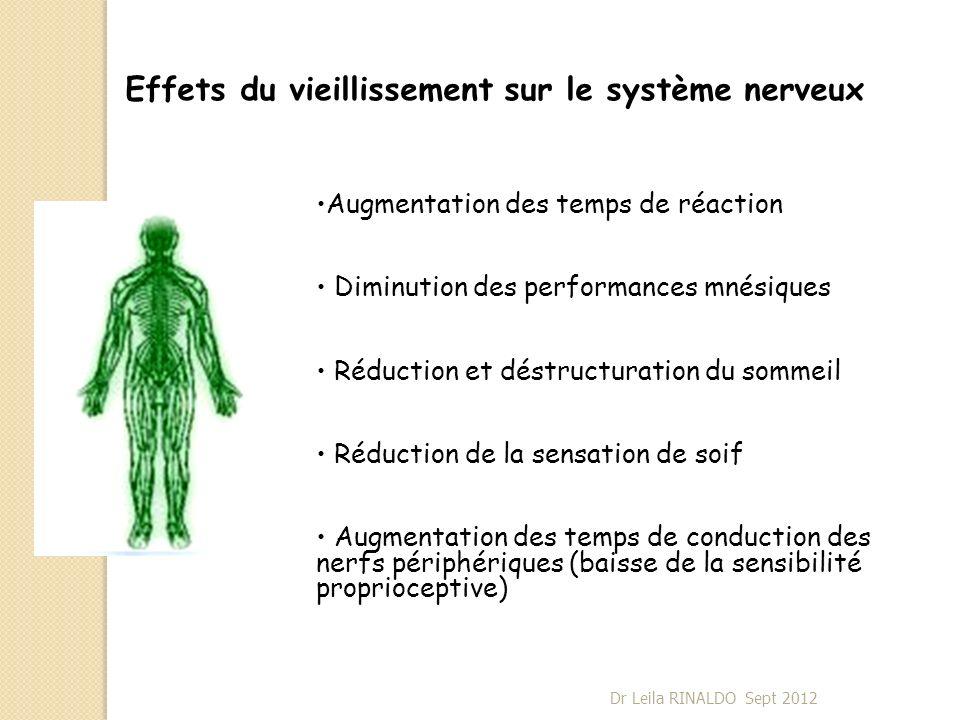 Effets du vieillissement sur le système nerveux Augmentation des temps de réaction Diminution des performances mnésiques Réduction et déstructuration
