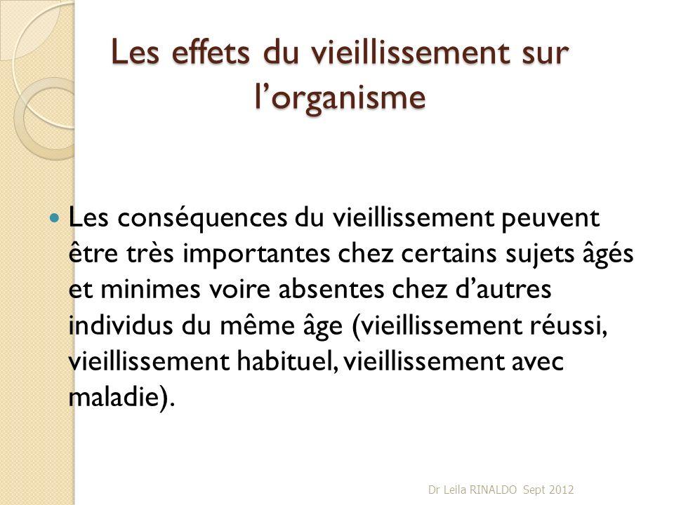 Les effets du vieillissement sur lorganisme Les conséquences du vieillissement peuvent être très importantes chez certains sujets âgés et minimes voir